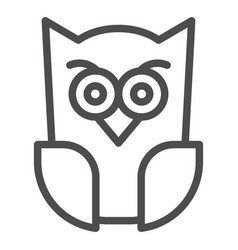 Scary owl line icon forest night bird halloween vector