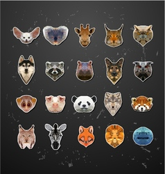 Set animals in style origami vector
