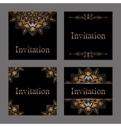 Set of Invitation cards with golden foil vector