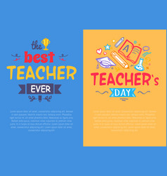 set of posters for teacher s day of posters vector image