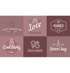 Set of Wedding Love Elements Merry Me can be used vector image