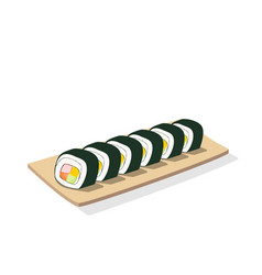 sliced sushi roll on wooden plate isolated vector image