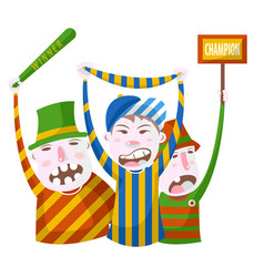 sport fans in striped clothing with bat scarf and vector image