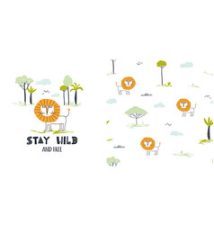 stay wild cute little lion vector image