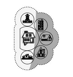 Sticker silhouette houses logo design in bubbles vector