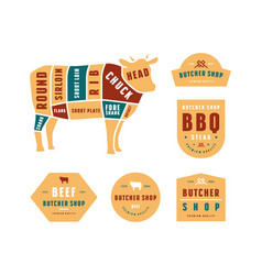Stock beef cuts diagram and label for butcher shop vector