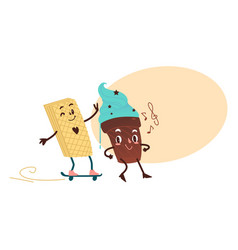 Sweet humanized waffle character on skate vector