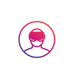 virtual reality man in vr glasses icon vector image