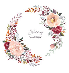 watercolor with floral wreath vector image