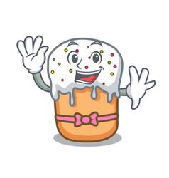 Waving easter cake character cartoon vector