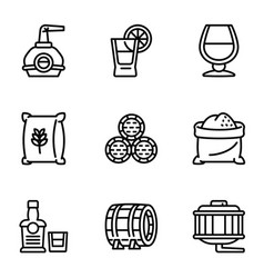 Whiskey factory icon set outline style vector