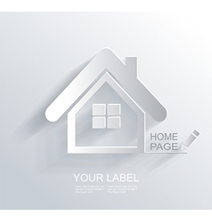 White paper origami home icon vector image