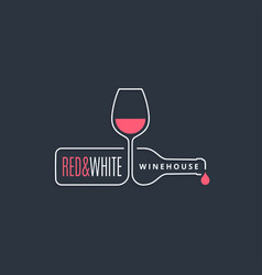 wine bottle with wine glass line icon on black vector image