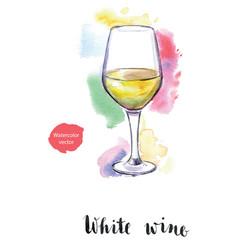 Wineglass white wine vector