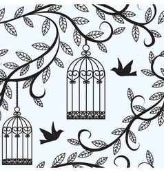 birds flying and cage vector image