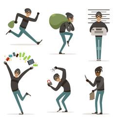 different actions scenes with cartoon bandit vector image vector image