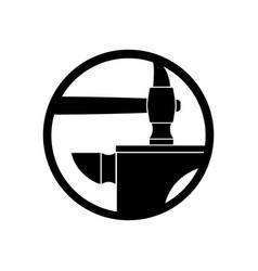 forge logo smithy symbol hammer and anvil emblem vector image