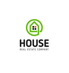 home linear logo smart house line art vector image