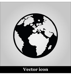 icon world map on grey background vector image vector image