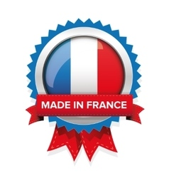 Made in France badge with ribbon vector image