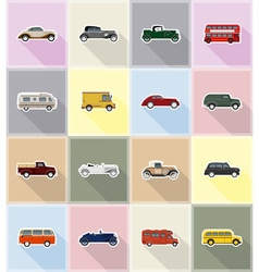 old retro transport flat icons 18 vector image