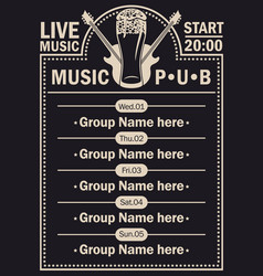 poster for beer pub with live music with guitars vector image vector image