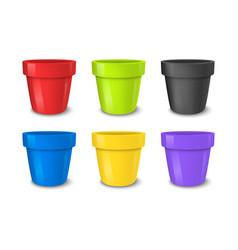 realistic empty flower pot set bright vector image vector image
