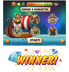 Slot game template with viking characters vector image vector image