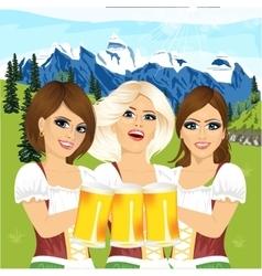 Three oktoberfest girls holding beer tankards vector image