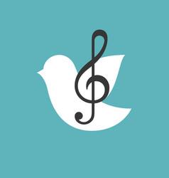 treble clef with bird vector image