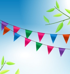 Background with Buntings Flags Garlands vector image vector image