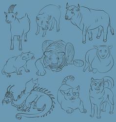 bull-cat-dog-goat-dragon-pig-rat-sheep-tiger vector image