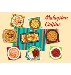 Malaysian cuisine traditional dinner icon vector image vector image
