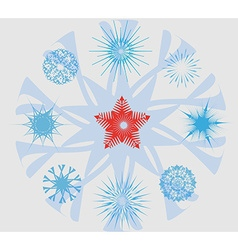 Snowflakes and Christmas Star vector image vector image