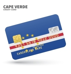 Credit card with cape verde flag background for vector
