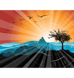 mountains and sunsets vector image vector image