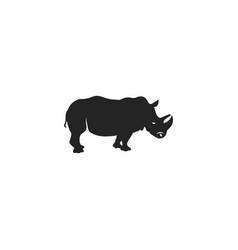 rhino black icon rhinoceros silhouette symbol vector image vector image