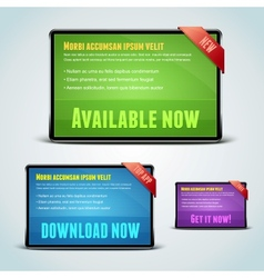 Set of 3 download banners for your website vector image vector image