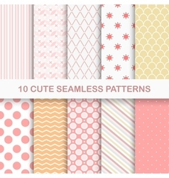 10 cute seamless patterns vector image