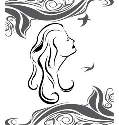 Girl profile on sea background vector image