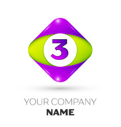 Number three symbol in the colorful rhombus vector
