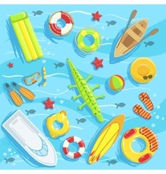 Water Toys And Other Objects From Above vector image vector image