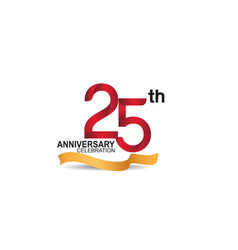 25 anniversary design logotype red color vector