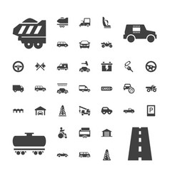 37 car icons vector image