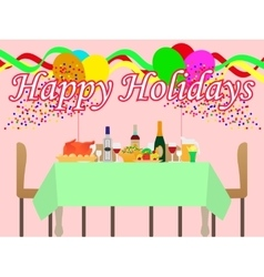 a festive table vector image