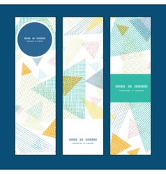 Abstract fabric triangles vertical banners set vector