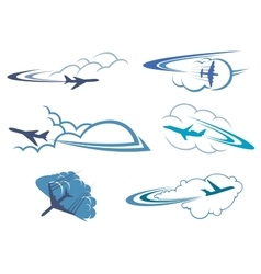 Airplanes flying in the cloudy sky vector image