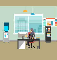 arabic businesswoman working on computer vector image