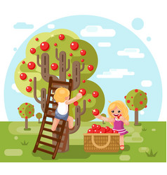 Autumn happy children boy girl harvest apples crop vector