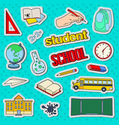 back to school stickers badges and patches vector image